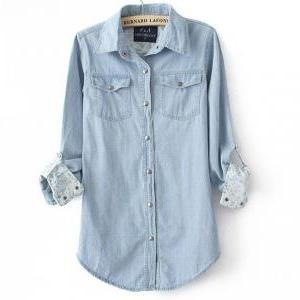 Fashion Light Blue Denim Shirt For ..