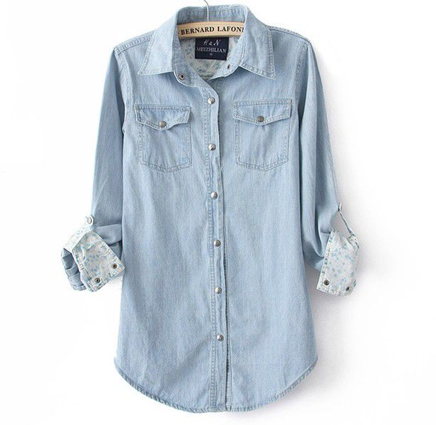 Fashion Light Blue Denim Shirt For Women