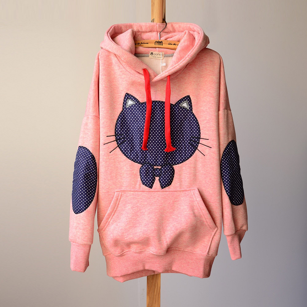 Cute Dot Cat Hoodie Sweaters Cartoon Fleece Patch Bow on Luulla