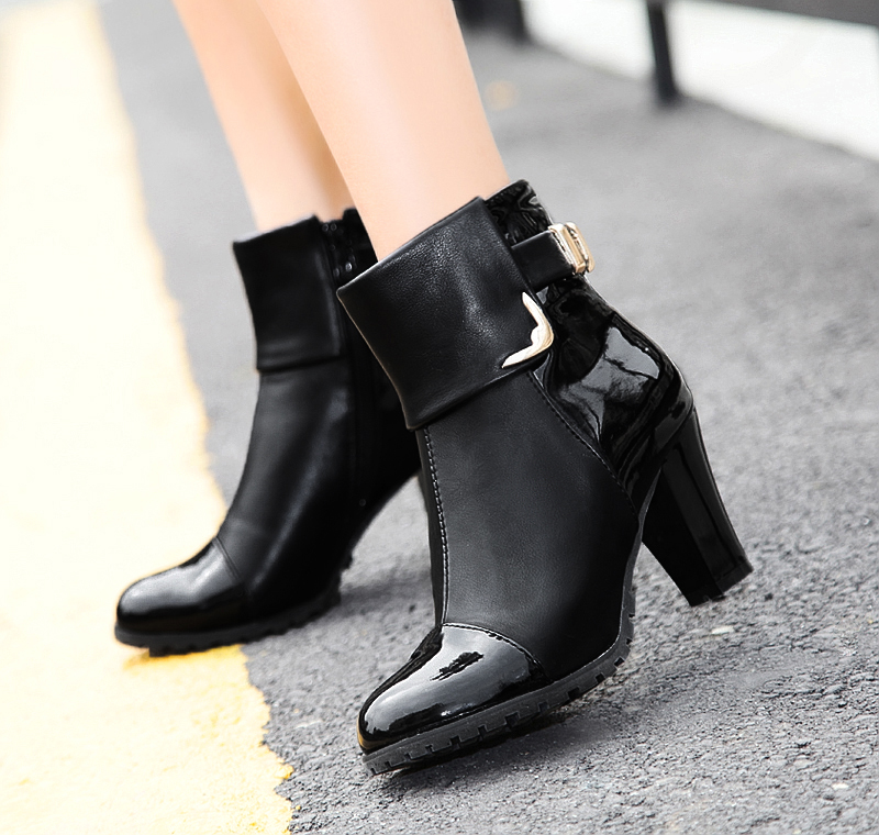 b2c1f9e3a938 New 2016 Fashion Women s Ankle Boots Thin High heels Platform Pumps Shoes  Winter Warm Snow Boots